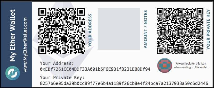 beispiel einer paper wallet von ethereum