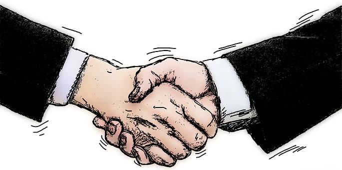 handschlag zum geschäftsabschluss